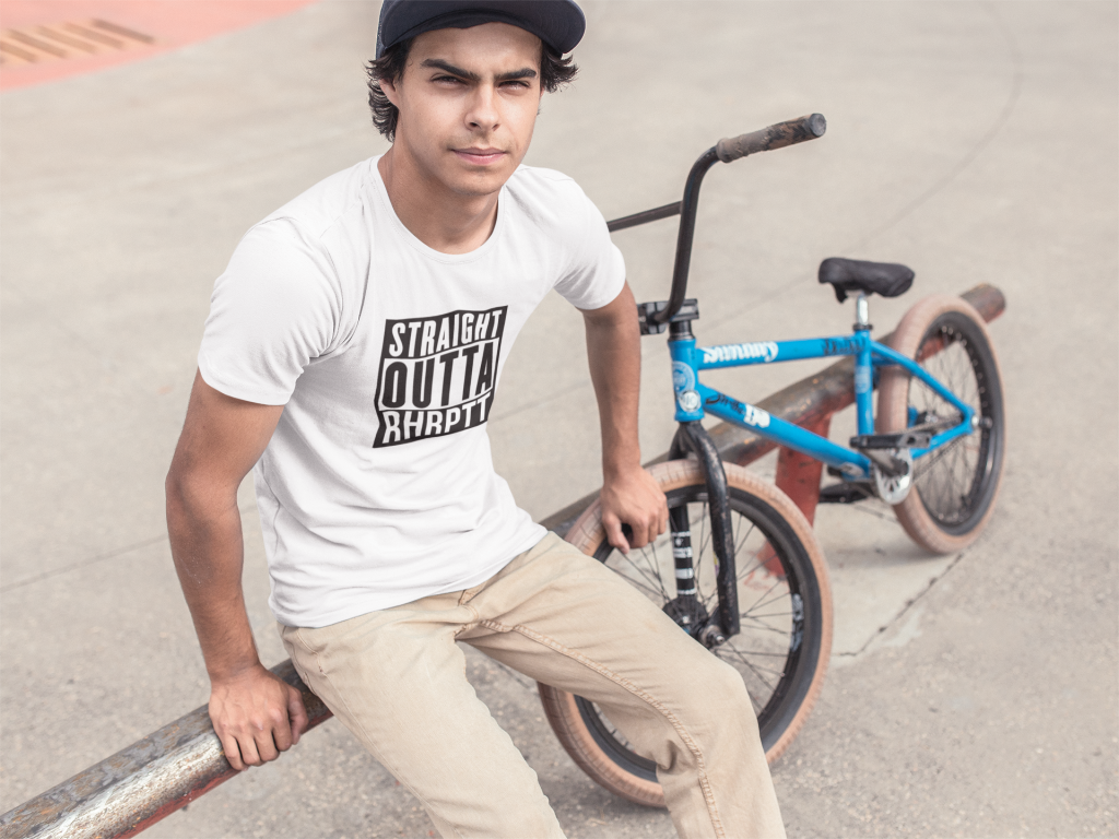 tee mockup of a skater guy with his bike a11592 RHRPTT heisst Ruhrpott
