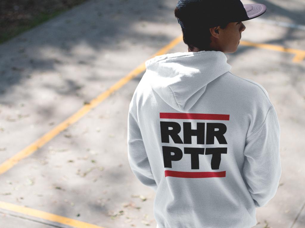 back side hoodie mockup of a guy wearing a hat a125002 RHRPTT heisst Ruhrpott