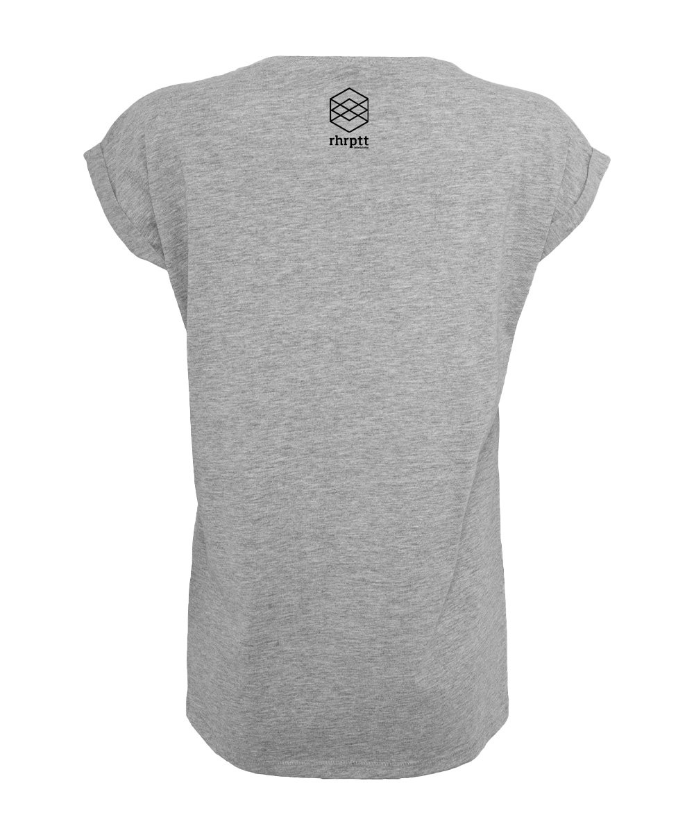 rhrptt tshirt hinten rundmc heather grey damen brandlogo