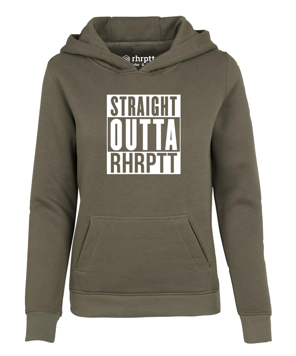 straight outta ruhrpott hoodie kapuzenpullover damen frauen olive 1